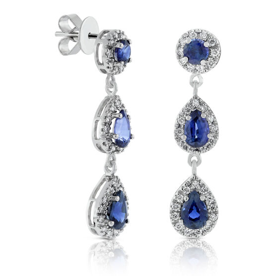 Sapphire & Diamond Drop Earrings 14K