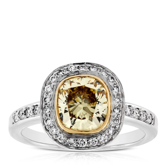 Cushion Cut Brown Diamond Halo Ring, 2.05 Ct. Center, in Platinum