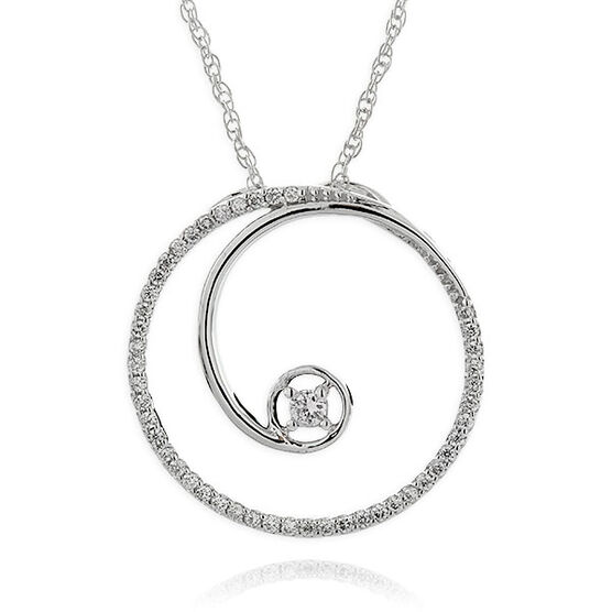 Diamond Curl Pendant 14K