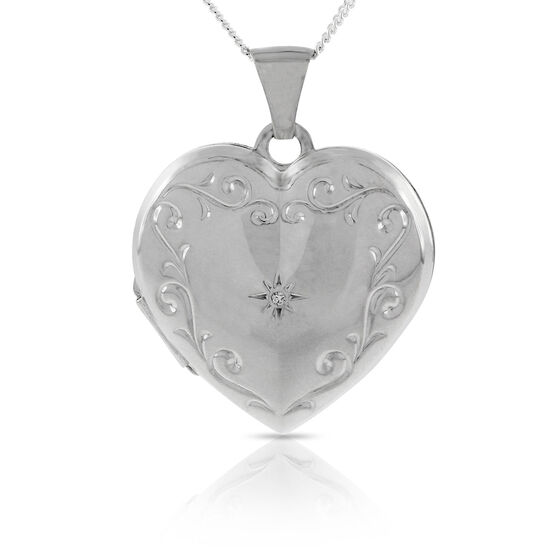 Diamond Locket in Sterling Silver