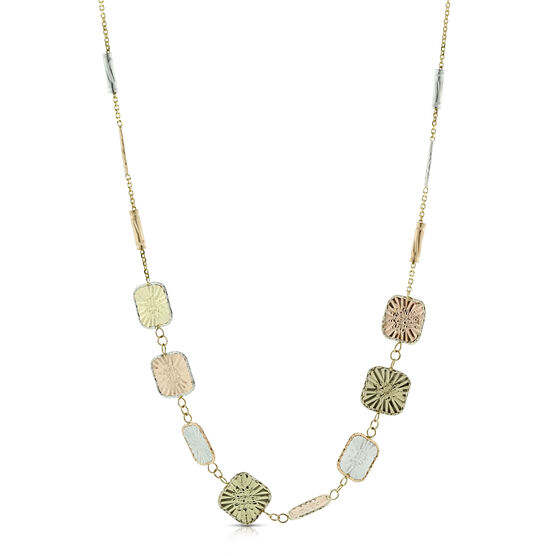 Toscano Square Station Necklace 14K