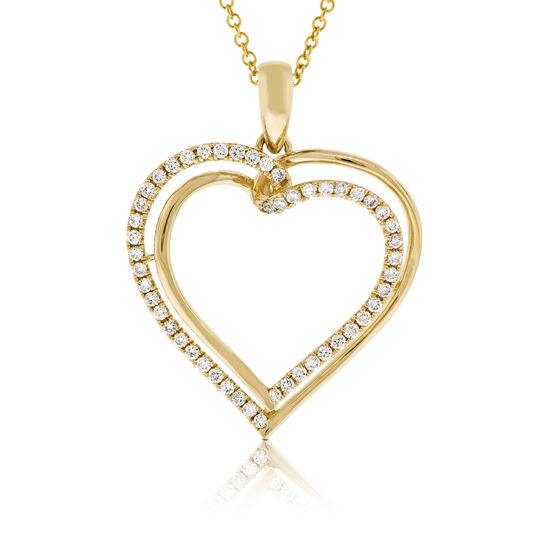 Diamond Heart Pendant 14K