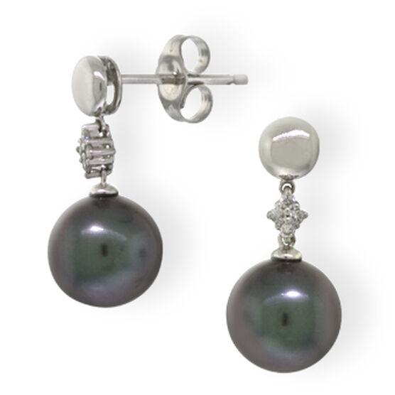 Tahitian South Sea Cultured Pearl & Diamond Earrings 14K