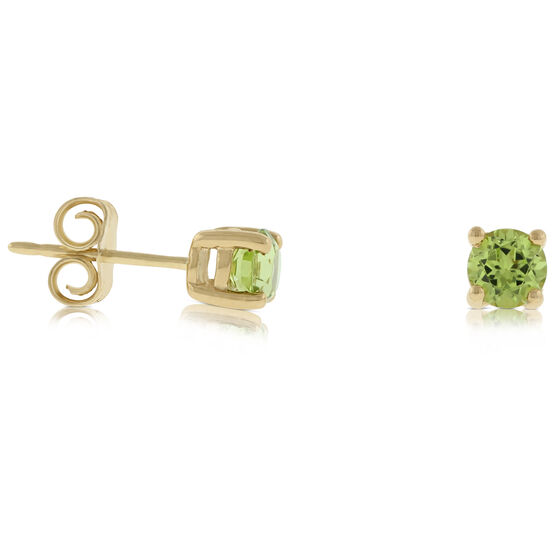Peridot Stud Earrings 14K