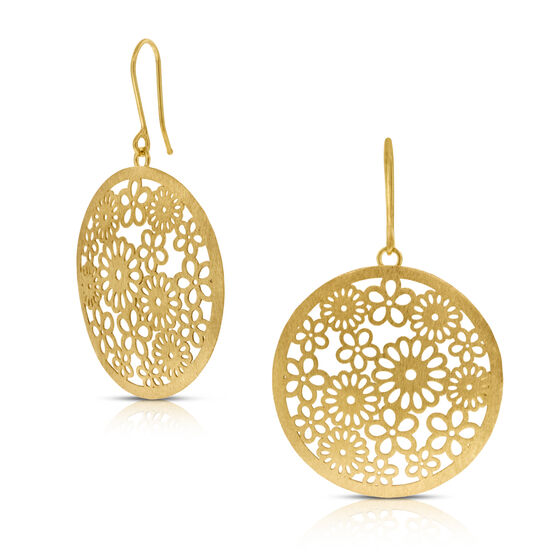 Daisy Disc Earrings 14K