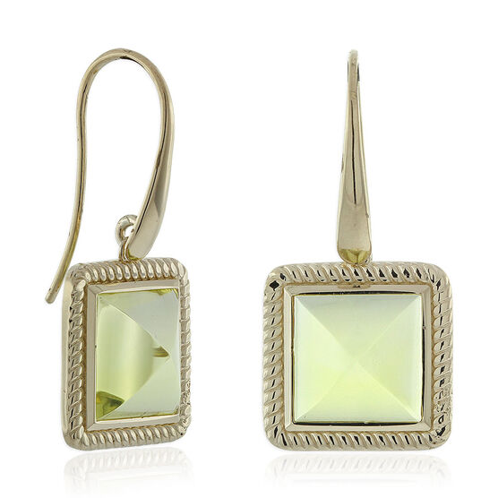 Green Quartz Pyramid Rope Bezel Earrings 14K