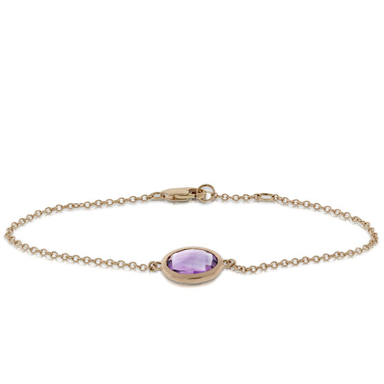 Oval Amethyst Bracelet 14K Rose