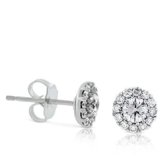 Diamond Halo Cupcake earrings 5/8ct, 14K
