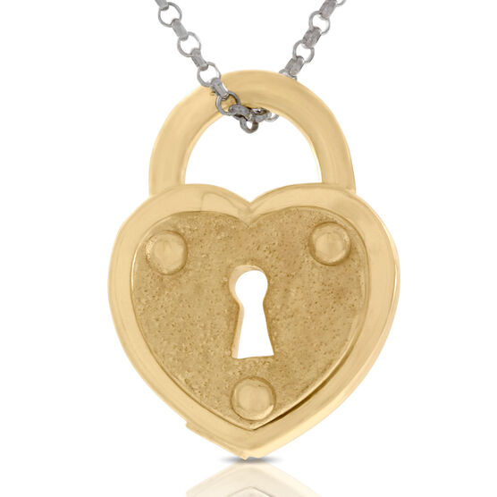 Heart Padlock Pendant, 18K over Sterling Silver