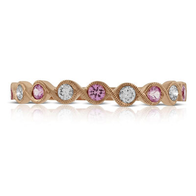 Rose Gold Pink Sapphire & Diamond Ring 14K