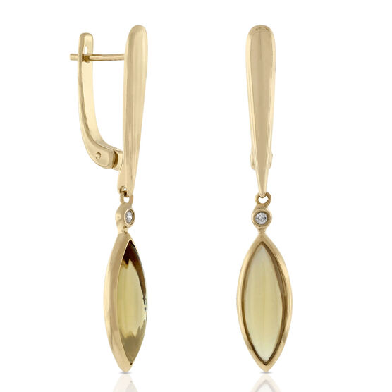 Marquise Citrine Dangle Earrings 14K