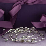 Lisa Bridge Smoky Quartz Station Bangle Bracelet in Sterling Silver