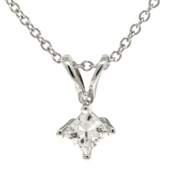 Princess Cut Diamond Pendant 14K, 1/4 ct.