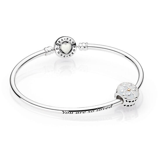 PANDORA Limited Edition Tree of Heart Bangle & Charm, Silver & 14K