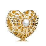PANDORA Vintage Heart Pearl Charm, 14K