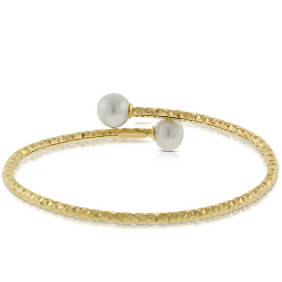 Bypass Pearl Bangle Bracelet 14K
