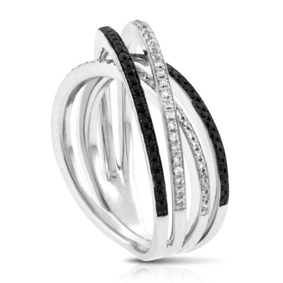 Black & White Diamond Criss-Cross Ring 14K