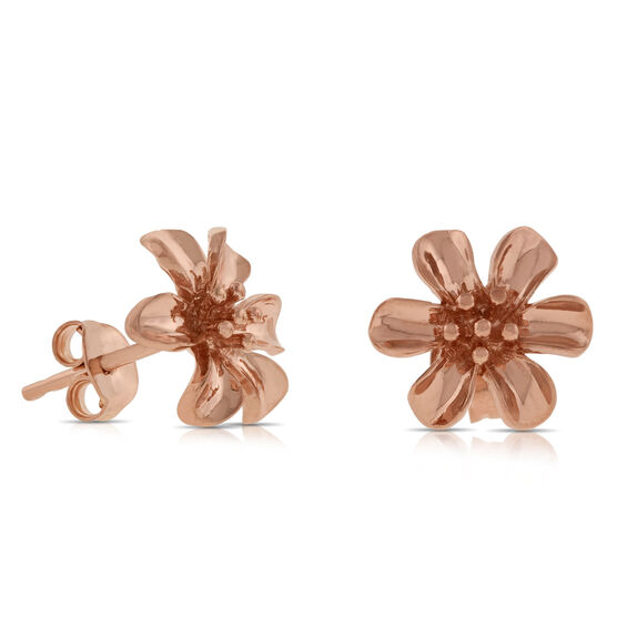Rose Gold Flower Earrings 14K