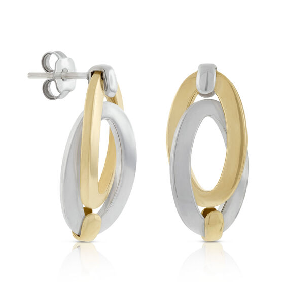 Toscano Collection Double Link Oval Earrings 18K