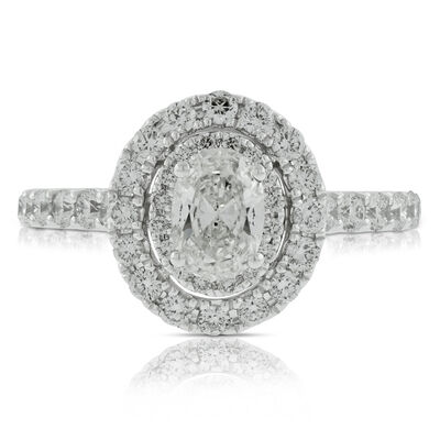Oval Cut Diamond Engagement Ring 14K