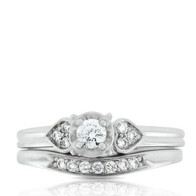 Diamond Heart Bridal Set 14K