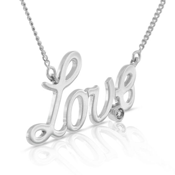 Diamond Love Necklace in Sterling Silver
