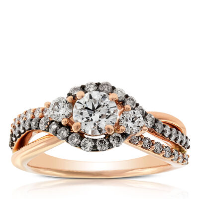 Brown & White Diamond Three Stone Ring 14K