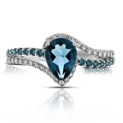 Topaz and Colored Diamond Ring 14K