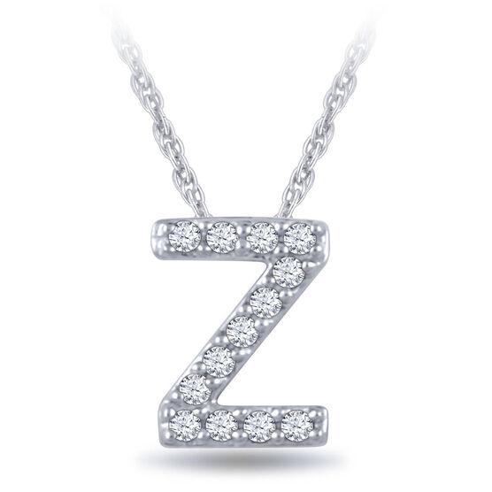 Diamond Initial Pendant 14K Letter 'Z'