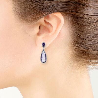 Amethyst Pear Drop Earrings 14K