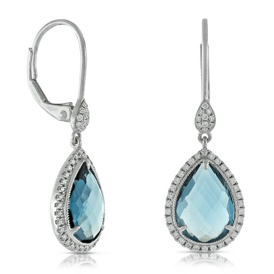 London Blue Topaz & Diamond Earrings 14K