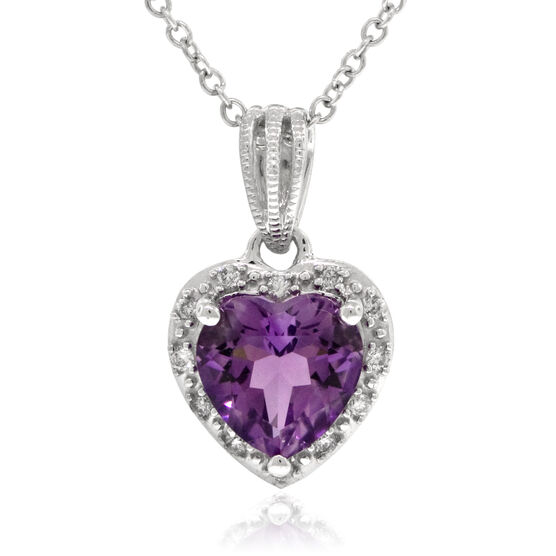 Amethyst & Diamond Heart Pendant 14K