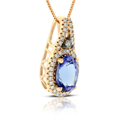 Rose Gold Tanzanite & Diamond Pendant 14K