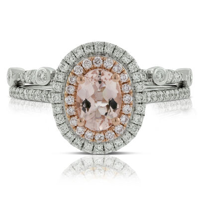 Morganite & Diamond Bridal Set 14K