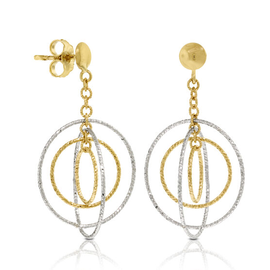 Dangle Circle Earrings 14K