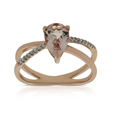 Rose Gold Criss Cross Morganite & Diamond Ring 14K