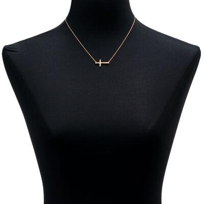 Horizontal Cross Necklace 14K