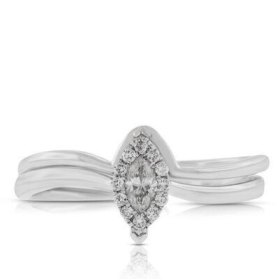 Diamond Marquise Halo Bridal Set 14K