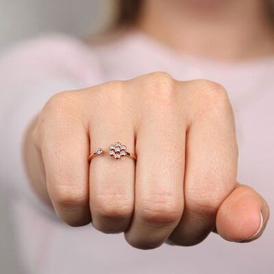 Rose Gold Open Flower Diamond Ring 14K
