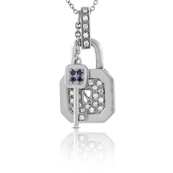 Sapphire & Diamond Padlock Pendant 14K