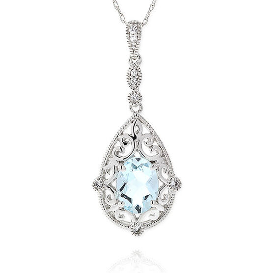Aquamarine & White Topaz Drop Pendant 14K