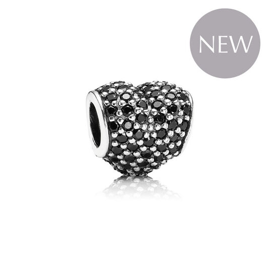 PANDORA Black Pave Heart Charm RETIRED