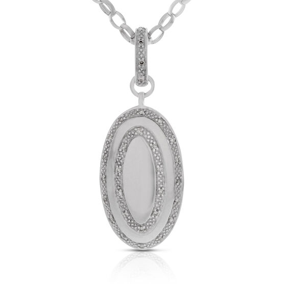 Diamond Oval Pendant in Sterling Silver