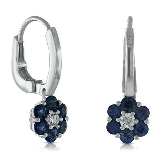 Sapphire Flower Earrings 14K