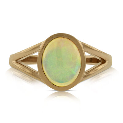 Rose Gold Opal Ring 14K
