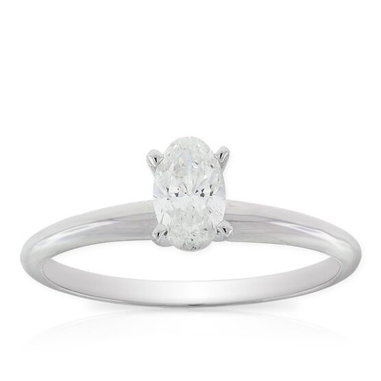 Oval Cut Solitaire Ring 14K, 1/2 ct.