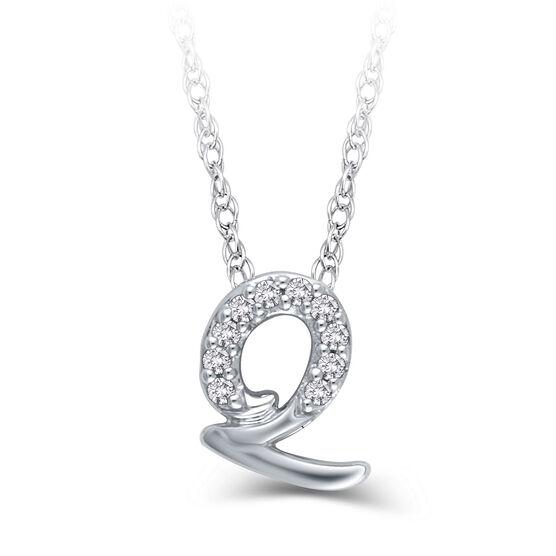 """Diamond """"Q"""" Initial Pendant 14K"""