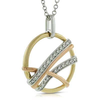 Criss Cross Circle Diamond Pendant 14K