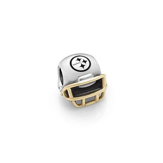 PANDORA Pittsburgh Steelers NFL Helmet, Silver & 14K