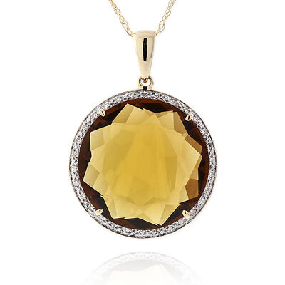 Brown Quartz & Diamond Pendant 14K